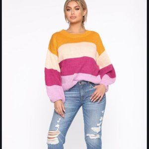 NWT Fashion Nova Striped Oversized Knit Sweater